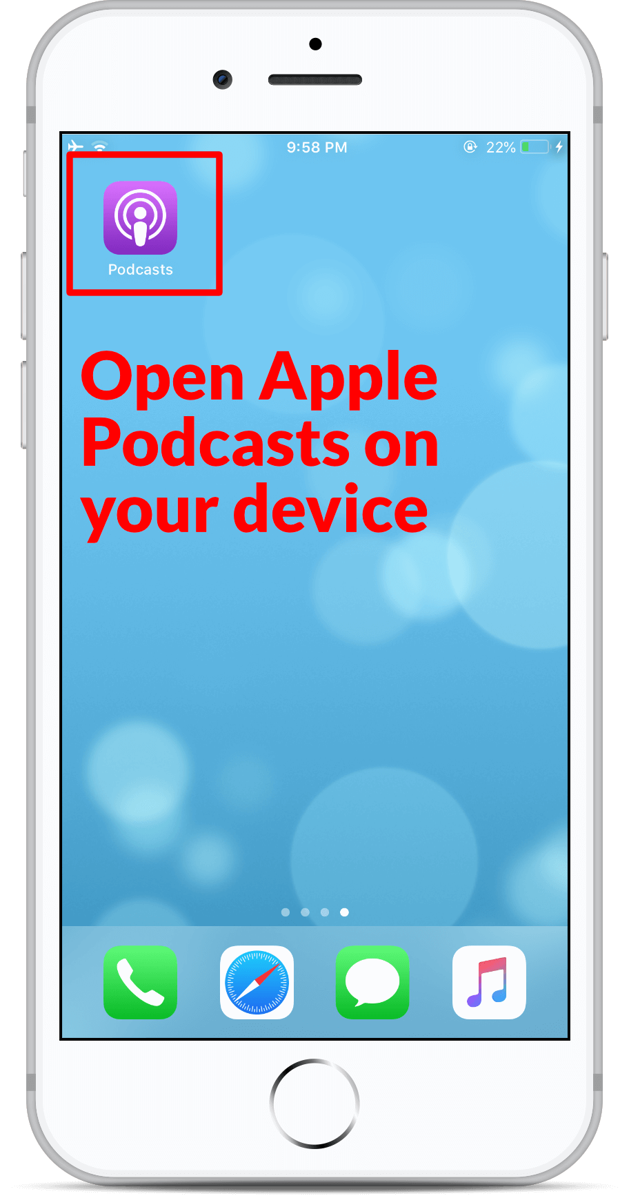 Subscribe on Apple Podcast - Step 1