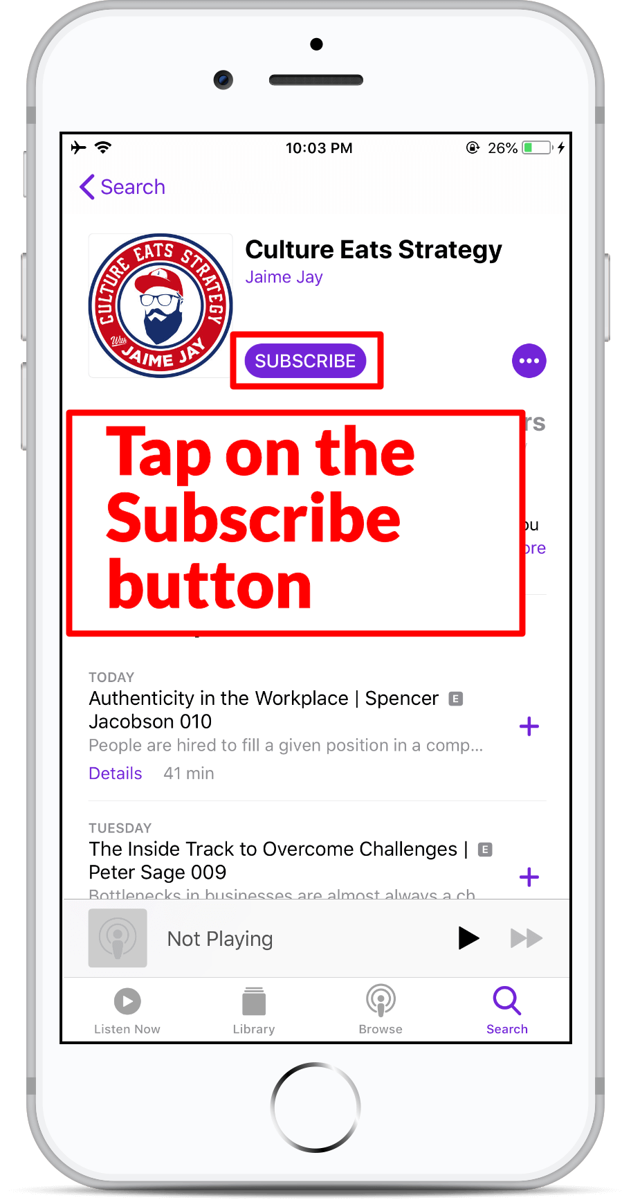 Subscribe on Apple Podcast - Step 6