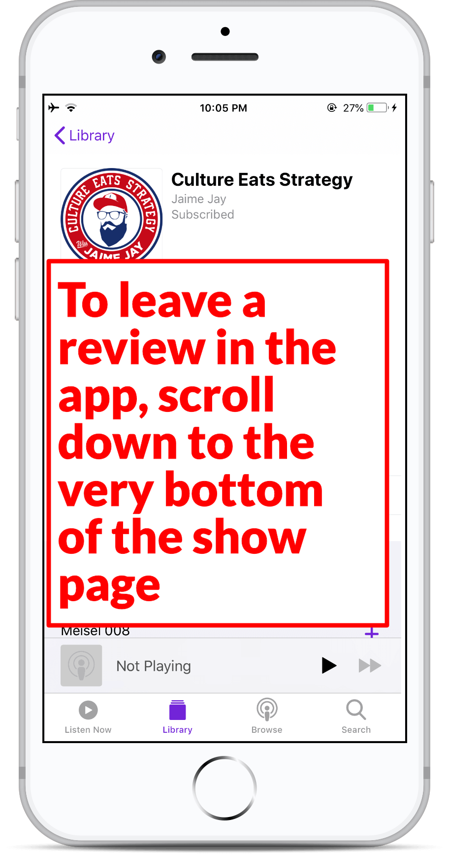 Subscribe on Apple Podcast - Step 9